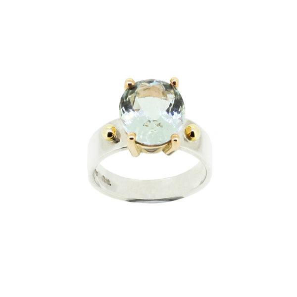 Aquamarine 9ct Yellow Gold and Silver Ring