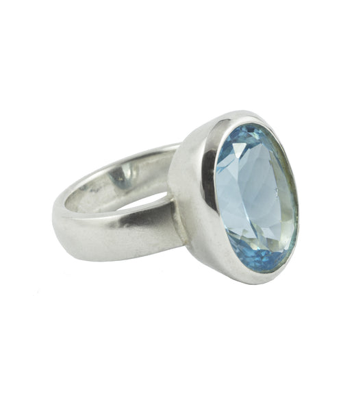 Blue Topaz Ring with a Satin Silver Finish
