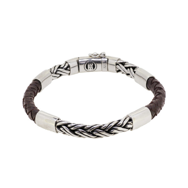 Buddha to Buddha Katja Silver and Brown Leather Bracelet