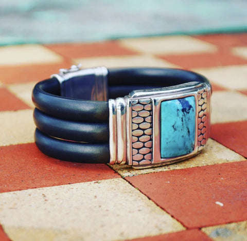 Silver Turquoise and Rubber Cuff- Yanvan