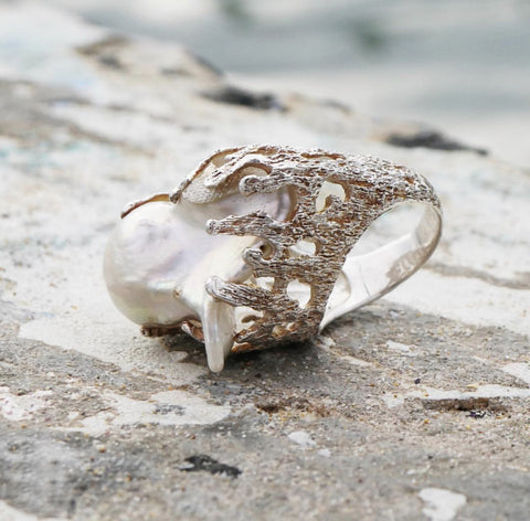 Natural Pearl Anemone Ring