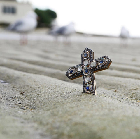 Rough Cut Diamond and Sapphire Cross Pendant