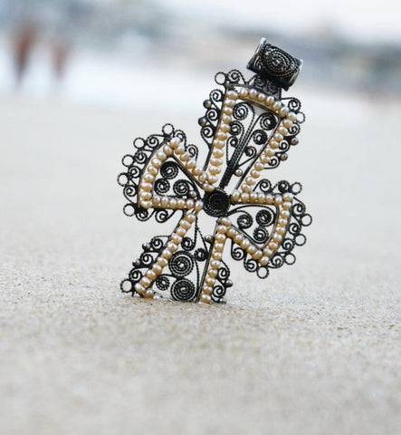 Silver Filigree Seed Pearl Cross