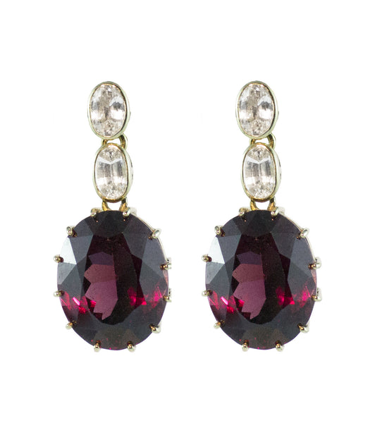 Garnet and White Sapphire with 14ct Gold Earring