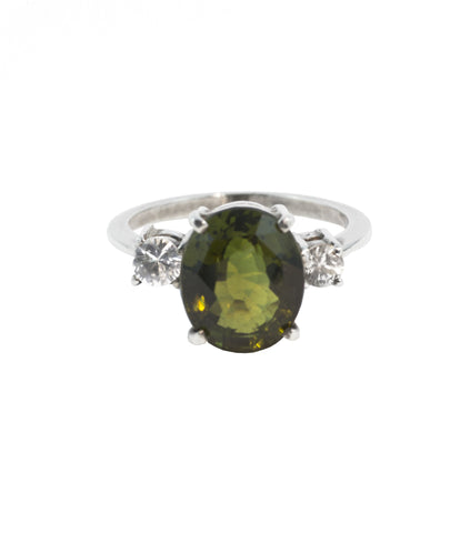 Green Tourmaline and White Sapphire Ring Aqua Luna