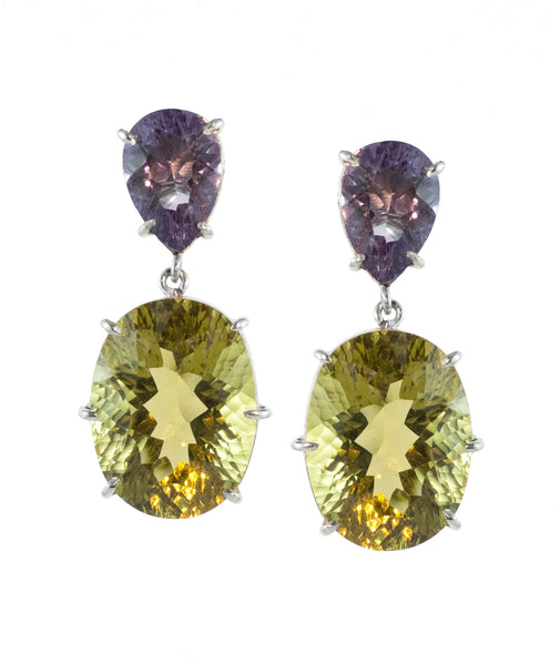 Honey Quartz and Amethyst Earring