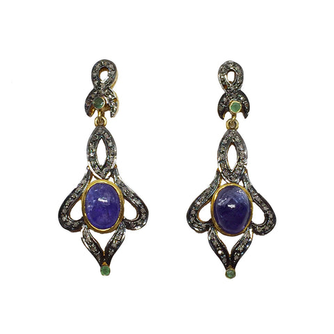 Tanzanite, Black Diamond and Emerald Earrings