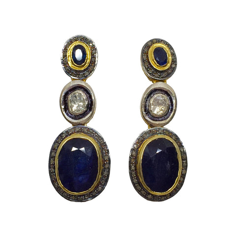 Sapphire and Diamond Silver and Gold Earrings