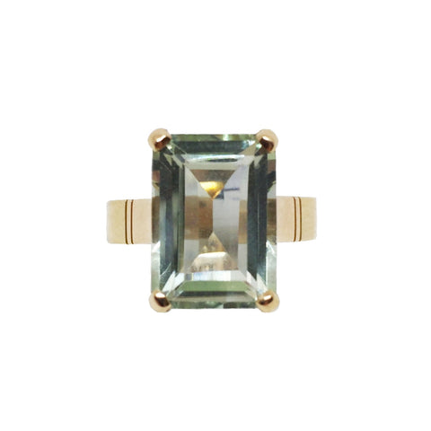 Green Amethyst 9ct Gold Ring