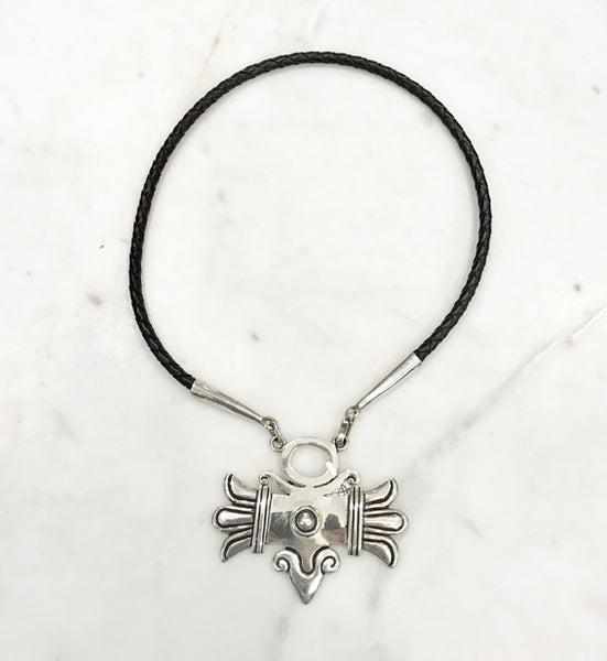 Silver and Leather Necklace - William Spratling, Mexico