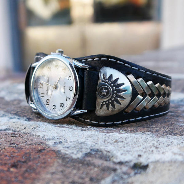 Native American Silver and Leather Watch Band - Frank Armstrong