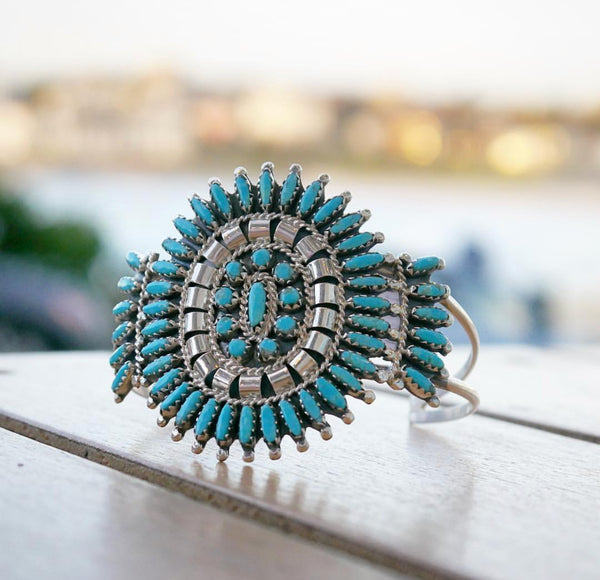 Navajo Turquoise and Silver Cuff - Nathaniel Nez