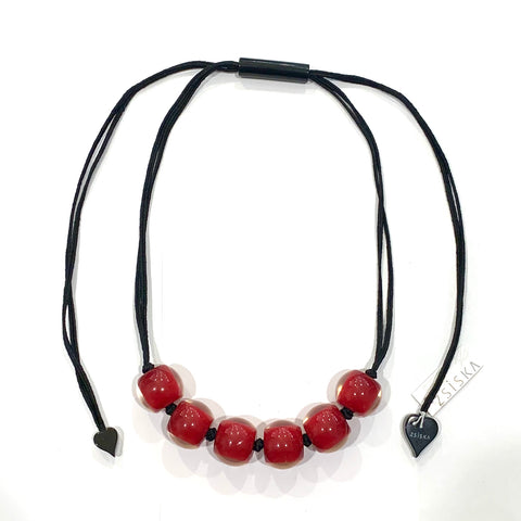 Zsiska Deep Red Adjustable Resin Necklace
