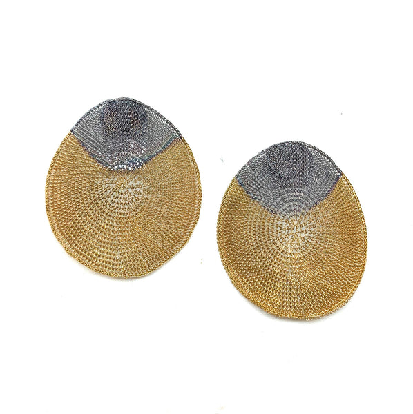 Woven 2 Tone Large Stud Earrings - Milena Zu