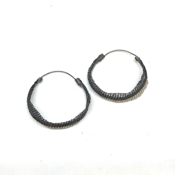 Woven 2 Tone Hoop Earrings - Milena Zu