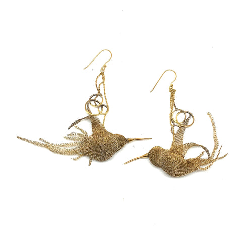 Woven Gold Hummingbird Earrings - Milena Zu