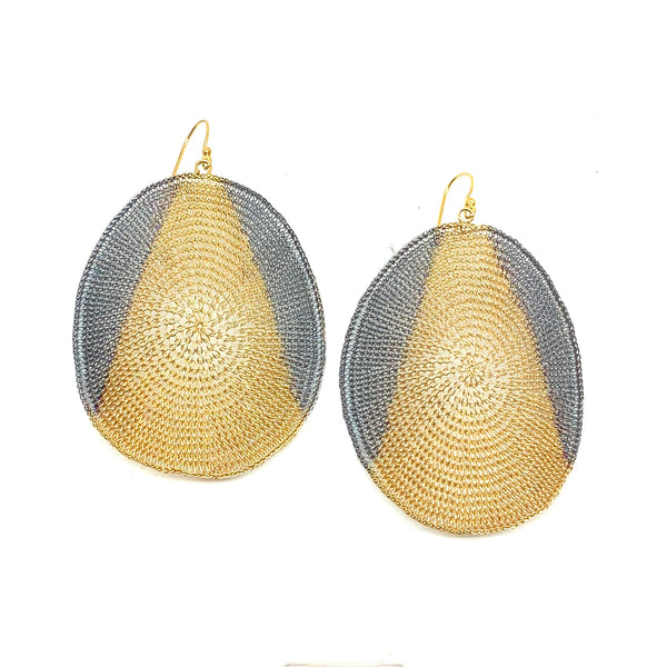 Woven 2 Tone Large Earrings - Milena Zu