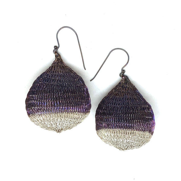 Woven Large 2 Tone Pod Earrings - Milena Zu