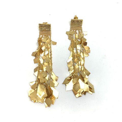 Woven Gold Star Fall Earrings - Milena Zu