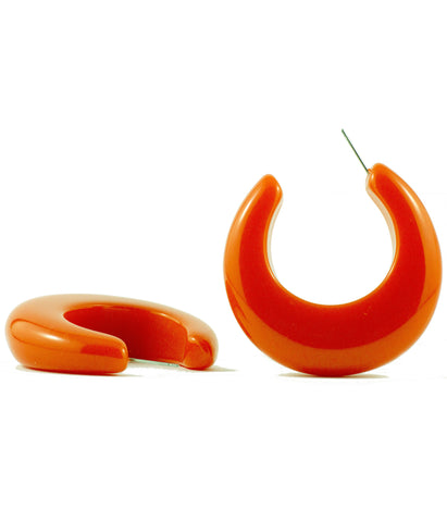 Sirocco Orange Resin Hoop Earring