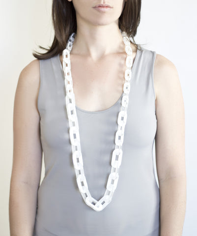 Sirocco White Long Link Necklace