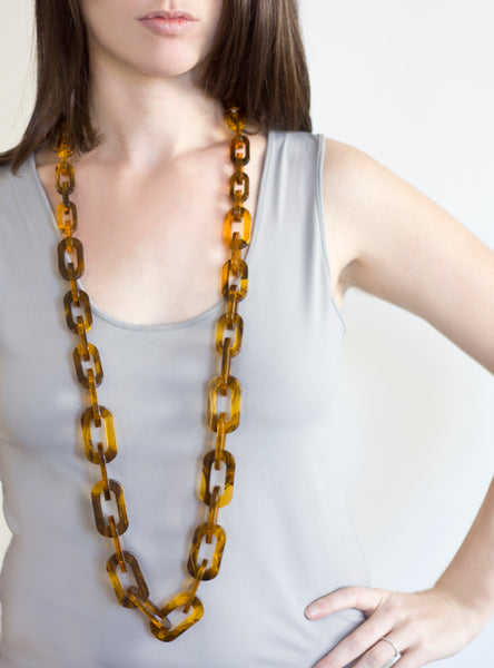 Sirocco Tortoise Shell Long Link Necklace