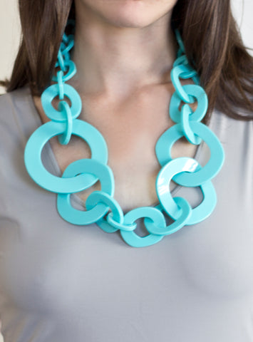 Sirocco Light Blue Resin Necklace