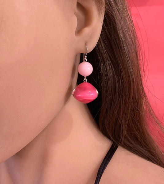 Pink Mix Beads Drop Earring - Zsiska 2020