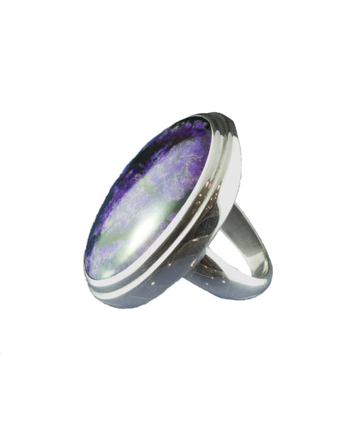 Sugilite Oval Ring set in Sterling Silver