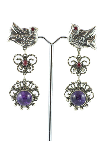 Mexican Silver, Amethyst and Coral Bird Earring