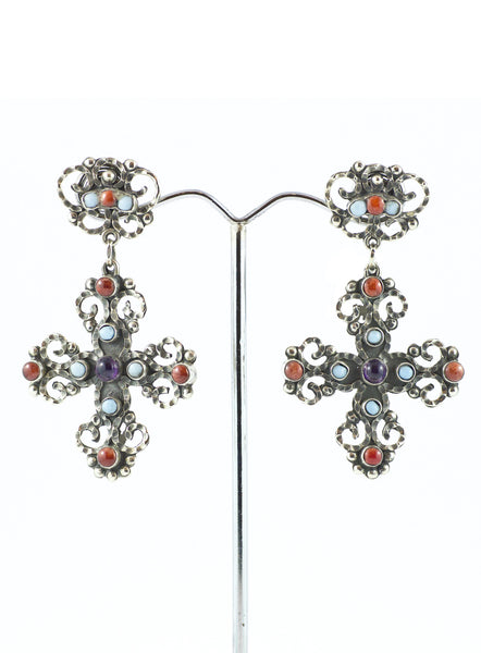 Mexican Silver, Amethyst, Coral and Turquoise Cross Earring