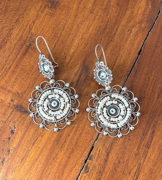 Mexican Filigree Silver and Pearl Earrings