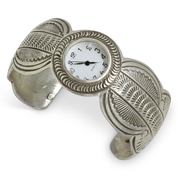 Vintage Zuni Sterling Silver Etched Watch Cuff
