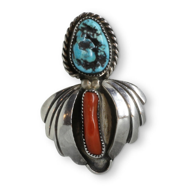 Vintage Navajo Coral and Turquoise Sterling Silver Ring