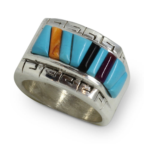 Native American Turquoise Inlay Silver Ring - Bevis Tsadiasi