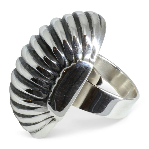 Silver Ridged 'Melon' Ring - Mexico