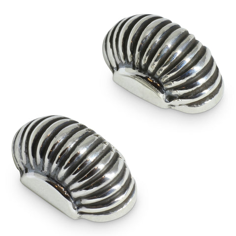 Silver Ridged 'Melon' Stud Earrings - Mexico