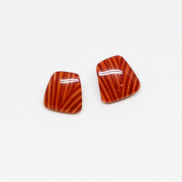 Orange Striped Stud Earrings - Zsiska