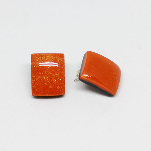 Orange Rectangular Stud Earrings - Zsiska
