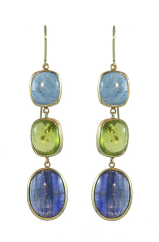 Kyanite, Peridot and Blue Topaz Earring Aqua Luna