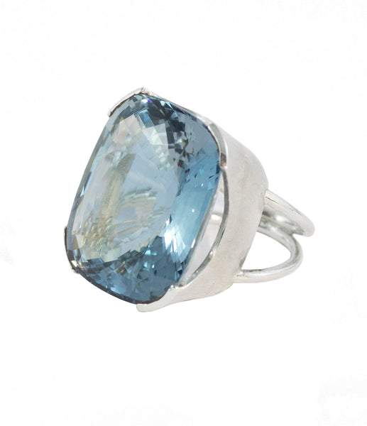Large Natural Blue Topaz Ring Aqua Luna