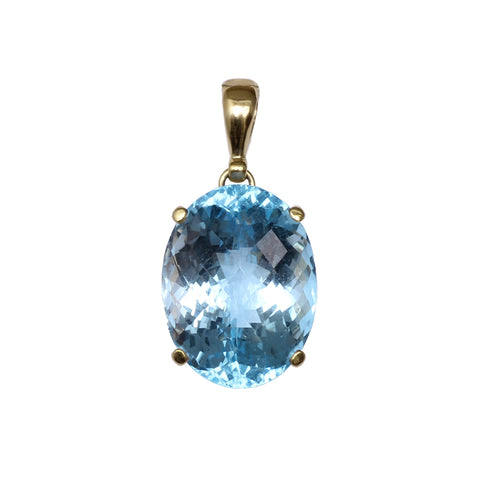 Blue Topaz Pendant in gold