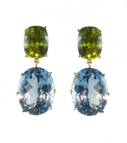 Peridot and Blue Topaz Earring in 14ct Gold Aqua Luna