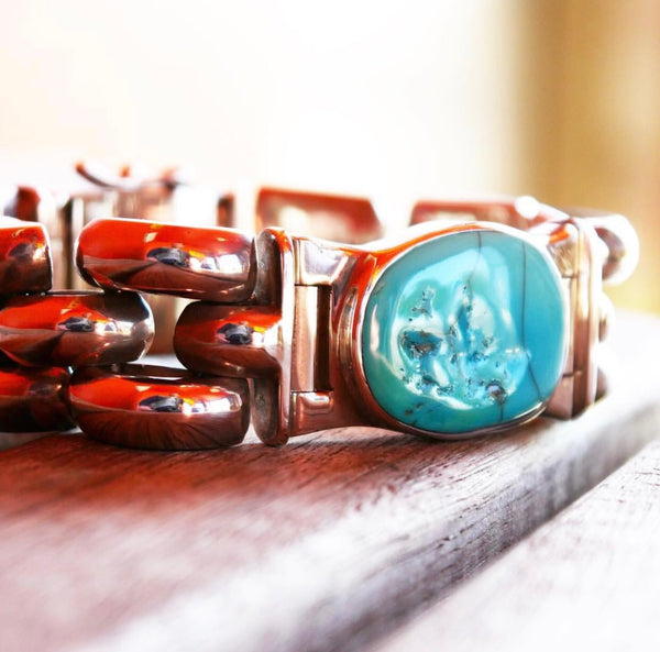 Sterling Silver and Turquoise Chunky Bracelet