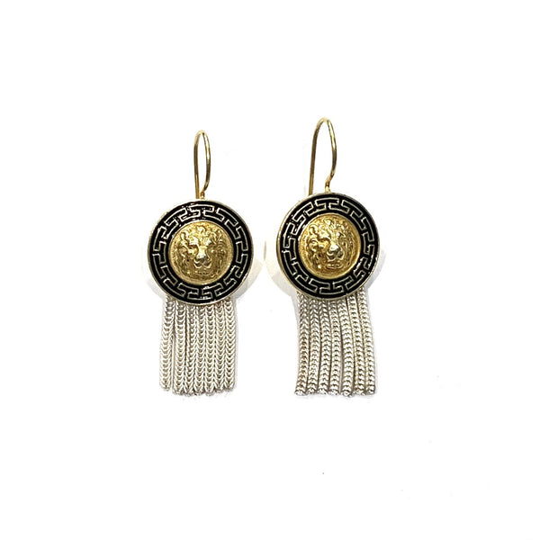 Anatolia Gold and Silver Lion Earrings
