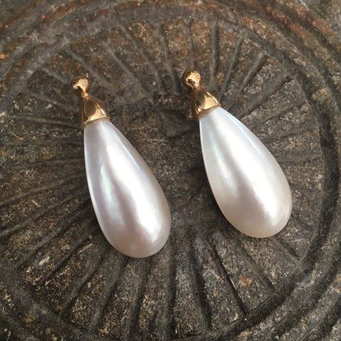 Teardrop Mabe Pearl Earring 9ct Gold