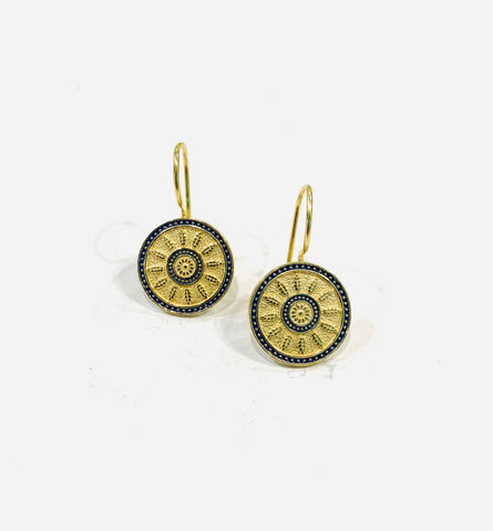 Gold Plated Silver Enamel Earrings