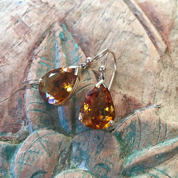 Citrine Teardrop Earrings in 9ct Gold