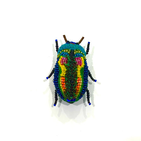 Beaded Beetle Brooch