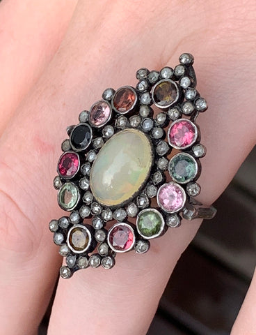 Opal, Tourmaline and Diamond Ring